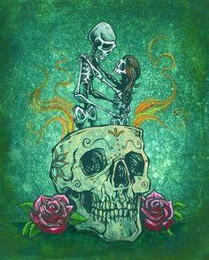 Day of the Dead Artist David Lozeau, Amor Eterno, Day of the Dead Art, David Lozeau Dia de los Muertos Art