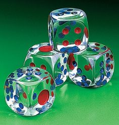 crystal clear dice with red and blue dots