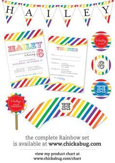 rainbow party digital invite & accessories
