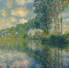 Poplars on the Epte Stretched Canvas Print by Claude Monet at Art.com