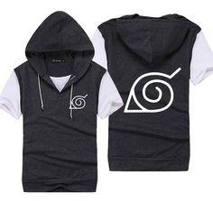 Anime Naruto Konoha Clothing Cosplay Hooded Short Sleeve T-shirt 3 Color