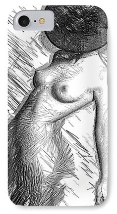 Female Figure Sketch 1266 Phone Case by Rafael Salazar