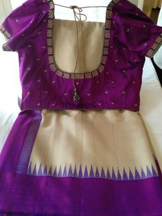 Purple and cream saree Blouse Back Neck Designs, Silk Saree Blouse Designs, Fancy Blouse Designs, Bridal Blouse Designs, Blouse Patterns, Blouse Models, Clothes For Women, Hand Embroidery, Embroidery Stitches