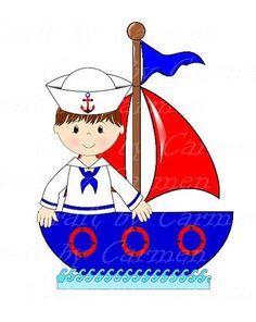 Sailor clip art boat baby boy cute sailor ahoy by CraftbyCarmen Nautical Cards, Nautical Baby, Nautical Theme, Star Clipart, Cute Clipart, Clipart Baby, Painting Patterns, Fabric Painting, Cartoon School Bus