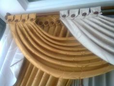 Swag Curtains, Curtains And Draperies, Printed Curtains, Valance, Brown Curtains, Drapery, Curtain Patterns, Curtain Designs, Curtain Styles