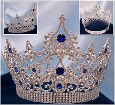 Rhinestone Queen Crowns - Crowns for Sale Continental Blue Sapphire Crown Tiara - Crown Designers - Rhinestone Crowns, Tiaras & Scepters Royal Crowns, Tiaras And Crowns, Bridal Crown, Bridal Tiara, Quinceanera Tiaras, Pageant Crowns, Headpiece Jewelry, Jewellery, Bride Hair Accessories