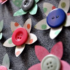 Button Flower Wall Art Decorations - set of 35  £9.99 from Made to Make
