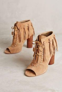 Cynthia Vincent Peep-toe Fringe Booties Beige $265.00 - Buy it here: http://lmz.co/GKi9b8
