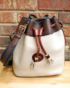 Vtg. Dooney and Bourke Teton Bucket Drawstring Bag, AS IS // Tri-Color Cream Pebbled Leather Bag, Rare// AWL Teton Cream Bucket Bag