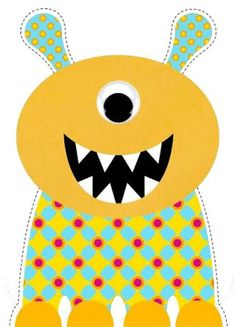 Yellow monster cut out. Doodle Patterns, Applique Patterns, Quilt Patterns, Monster Birthday Parties, Monster Party, Cartoon Monsters, Little Monsters, Monster Classroom, Monster Clipart