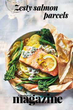 This spring salmon dish prep-ahead dish is great for entertaining and is packed with new season's ingredients Salmon Recipes, Pork Recipes, Sauce Recipes, Fish Recipes, Seafood Recipes, Cooking Recipes, Cooking Ideas, Food Ideas, Good Healthy Recipes