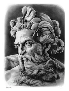 Neptune by Greg Joens Neptune, mythology Zeus Tattoo, Statue Tattoo, Posseidon Tattoo, God Tattoos, Dark Art Drawings, Tattoo Design Drawings, Tattoo Bauch, Greek Mythology Tattoos, Tattoo Convention