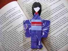 Dark Blue Floral Japanese Origami Kimono Doll Bookmark. Asian Oriental. Birthday Gifts. Handmade OOAK by NightLightCrafts on Etsy