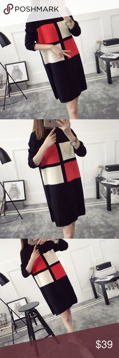 """Color block mid-long sweater Material: acrylic and cotton blended Measurement: length: 31.5"""" bust: 37"""" around, sleeve length-18"""" shoulder to shoulder- 19-20"""" Sweaters"""