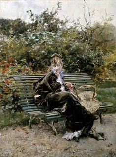 """Giovanni Boldini (Ferrara 1842 - Parigi 1931) - """"Sulla panchina al Bois"""" (1872) - olio su tavola - Collezione privata"""