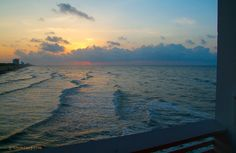 Walking up the stairs at Galveston Fishing Pier to see the panoramic view of the Seawall at sunrise... always amazing views up there!!