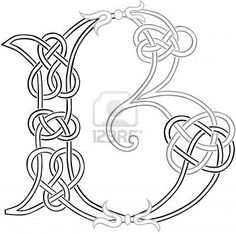 A Celtic Knot-work Capital Letter B Stylized Outline