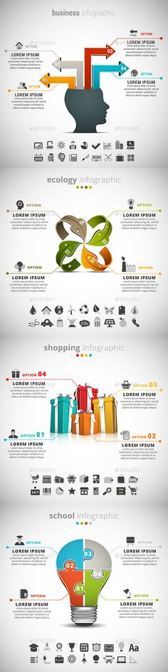 4 in 1 Business Infographics Bundle by grki Vector set of differentinfographics. 22 icons inside each file. ZIP includes free font link, AI, PSD and high resolution JP Design Presentation, Presentation Templates, Bi Business Intelligence, Strategy Map, Business Infographics, Concert Flyer, Powerpoint Design Templates, Information Graphics, Chart Design