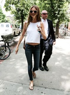 ohmy-celebrities:  July 30, 2013. Behati Prinsloo arrives at Da Silvano Restaurant in New York City.