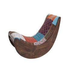 Video rocker, patchwork chair. Made with sturdy wood and soft fabric