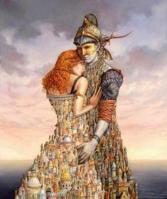 Setowski - Thais and Alexander Fantasy Kunst, Magic Realism, Illusion Art, Illusion Paintings, Fantastic Art, Surreal Art, Best Artist, Artist At Work, Love Art