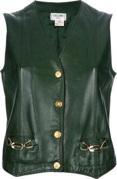 CELINE VINTAGE leather gilet