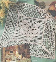 Rooster crochet filet work with diagram