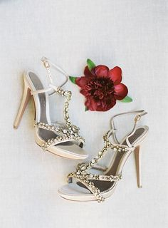 Jeweled Alexander McQueen sandals are perfect wedding shoes | @picturebunny | Brides.com