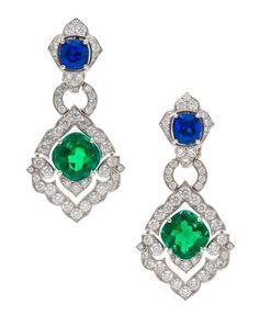 An Important Pair of Platinum, Emerald, Sapphire and Diamond Victoria Earclips, Cartier, Circa 2008