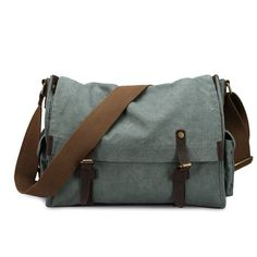 "ROCKCOW Heavy Duty Vintage Washed Messenger Bag 15"" Laptop Canvas Duffle Bag 8080"
