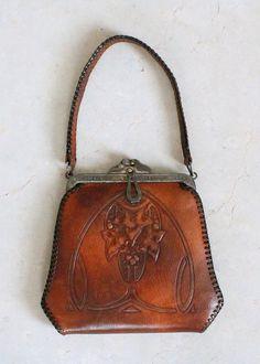 Art Nouveau Tooled Leather Purse, c 1910