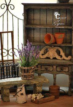 Miniature Shabby Lavender in Wooden Bushel Basket by AtomicBlythe, $18.50