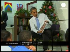 President Obama reads Christmas books to children at youth centre - Polar Express