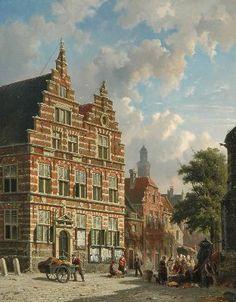 Adrianus Eversen Amsterdam 1818-1897 Delft Groentehandel voor het Oude Gemeentehuis Naarden Vesting, olie op paneel 66,8 x 53 cm., gesigneerd l.o. en verso op etiket, en met monogram r.o. Part.coll., voorheen coll. Simonis & Buunk Kunsthandel, Ede.