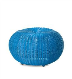 Small Outdoor Wicker Ottoman Pouf blue