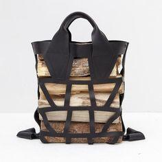 Jonas DeVarona for Object Seattle.   Leather bag for wood. Sac pour bûches de bois.