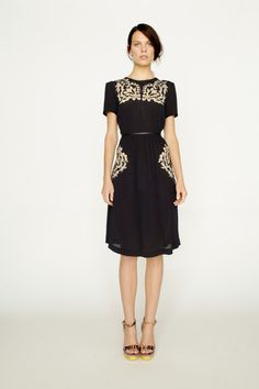 Collette by Collette Dinnigan Summer 2013 short sleeve dress with mesh embroidery.