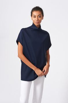 Made from our domestic Ponte di Roma, this style is all about the attitude of the shape. On its own or layered over your favorite tee, this funnelneck shirt is sure to be your go-to transition into warmer weather. with short sleeves, this comfortable spring top is perfect for your work from home outfit, or day out running around. Shop more from the spring collection now at KAL RIEMAN. High End Fashion, Modern Fashion, Timeless Fashion, Casual Work Outfits, Work Casual, Summer Outfits, Tailored Shirts, Spring Tops