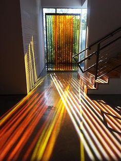 Carlos Cruz-Diez Transchromie 1965/2009. Plexiglas, stainless steel, 102.5 in. x 61 in. x 14.5 in.