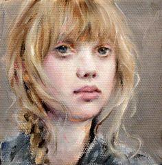 "Portrait Original Oil by Moonglance 4""x4""x1 5 "" OOAK One of A Kind | eBay"
