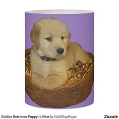 Golden Retriever Puppy in Nest Flameless Candle
