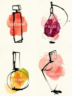 such simple line drawings made amazing by watercolour