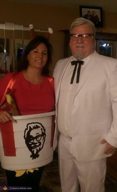 Suzanne: Dave is Colonel Sanders, we bought a white suit, tie and glasses. He painted his hair and goatee white. Sue is the bucket. We took a blue beverage tub and...