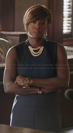 Annalise's navy blue dress with black side panels on How to Get Away with Murder.  Outfit Details: http://wornontv.net/37628/ #HTGAWM