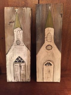 Hand painted Churches on barn wood by Cindy Lawhon.