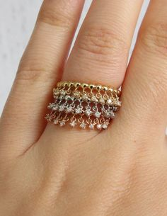 3 Stackable Tri Color Faye: Diamond Tassel Bands by TemsahJewelers on Etsy https://www.etsy.com/listing/222424984/3-stackable-tri-color-faye-diamond