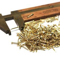 """1//2"""" Nickel BRASS BRADS 25 NAILS round head #18 gaugeEscutcheonpins USA made!"""