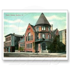 Library, Quincy, IL 1914 Vintage Postcard from Zazzle.com