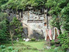 Tau Tau poppen voor de rotsgraven in Toraja land, één van de tradities van de bijzondere dodencultuur van de Toraja bevolking.