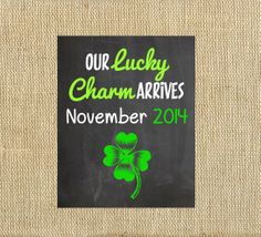 Printable St Patrick's Day Pregnancy Announcement Postcard, Digital Chalkboard Print 4x6 or 5x7 Pregnancy Reveal New Baby Card March Green